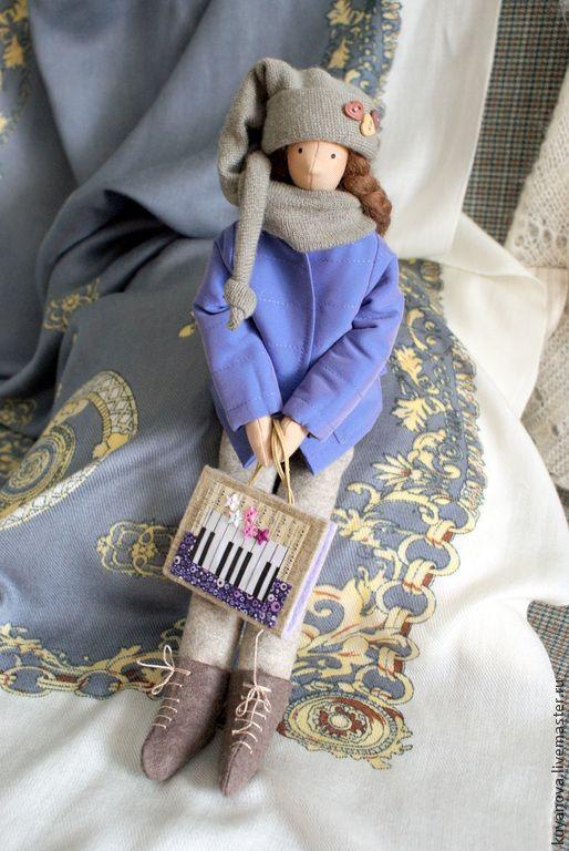 Купить Сестра младшая. - текстильная кукла, интерьерная кукла, тильда кукла, подарок, ноты