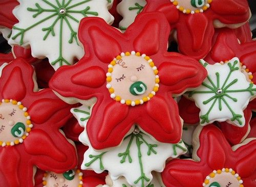 Christmas Baby Showers: BABY Poinsettia Cookies