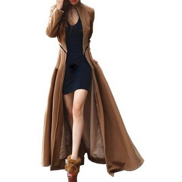 Vogholic Women's Floor-length Long Trench Winter Coat Khaki L ❤ liked on Polyvore featuring outerwear, coats, long trench coat, trench coat, floor length trench coat, long brown coat and floor length coat