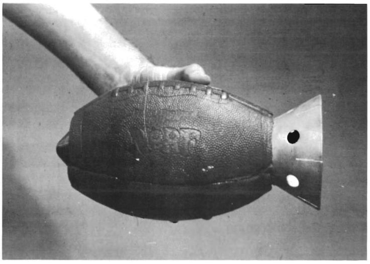 U.S. Army prototype anti-armor hand grenade from 1973 – a shaped charge, packed in a hollowed-out NERF football.
