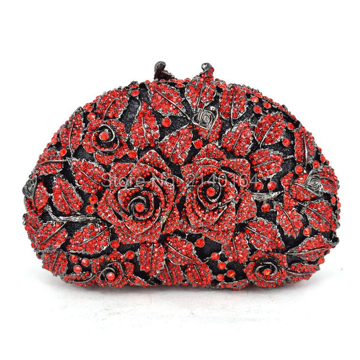 Evening Clutches Women Designer Red Clutch Crystal Clutch Evening Bags and Purses Handbags High Quality Two roses (88303-D)