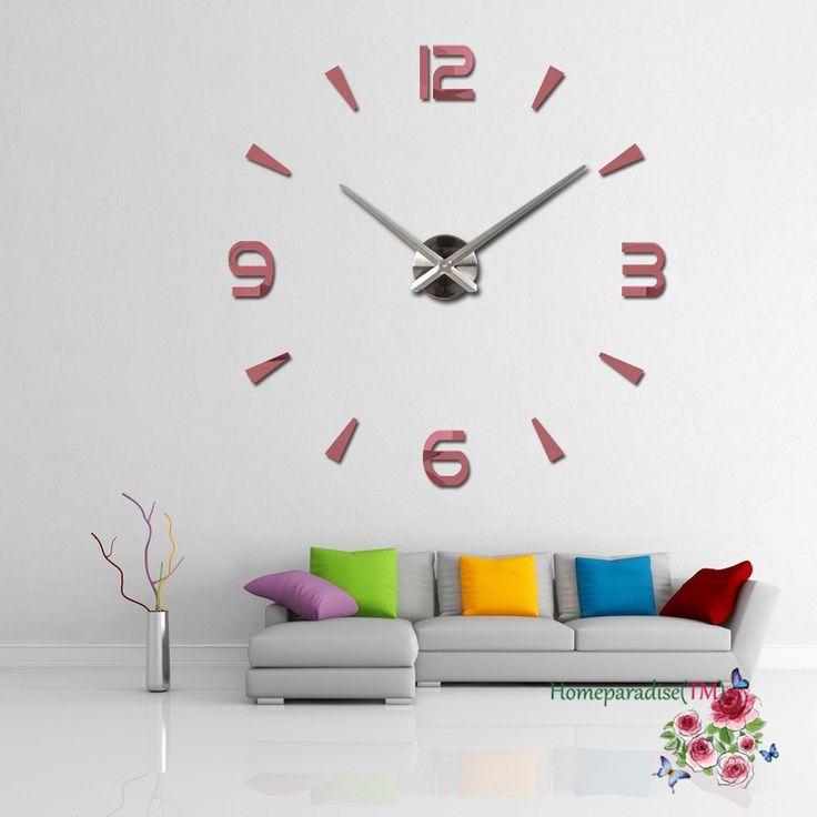 """Aliexpress.com: Acheter 25 """" 40"""" Chiffres Arabes Flèches Grandes Mains Miroir Horloge Murale Surdimensionné Horloge Salon Decor Wall Sticker Decal Décoration de oversized clock fiable fournisseurs sur Shenzhen Home Paradise Co., Ltd"""