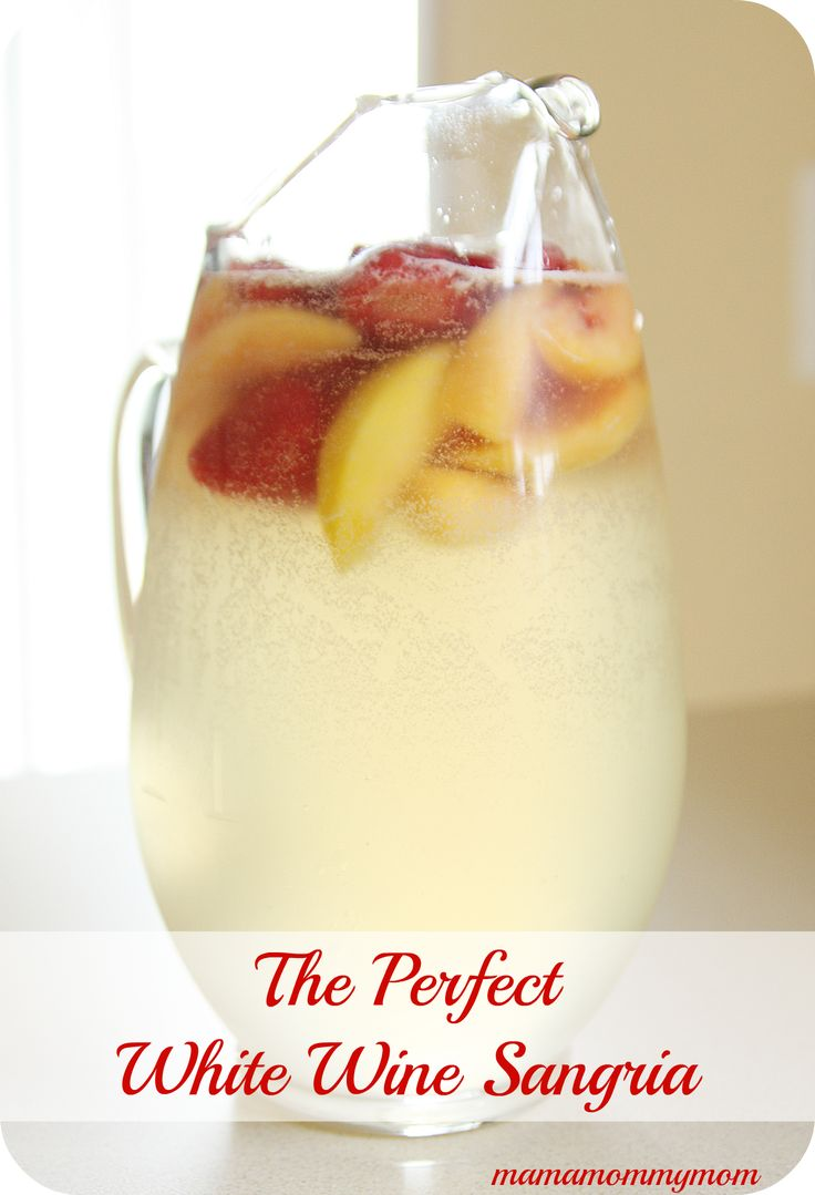 White Wine Sangria Recipe - White grape juice, white wine (Chardonnay), sprite, peach schnapps, frozen fruit. No