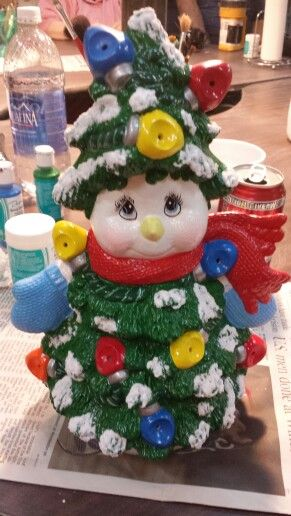 My ceramic snowman I painted at Pouring Art Ceramics in okc ok