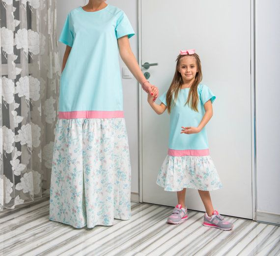 NEW SS16 Turquoise Cotton Maxi Dress, Mother and Daughter matching dress, Abaya Dress, Summer Dress, Long Dress, Plus size clothing