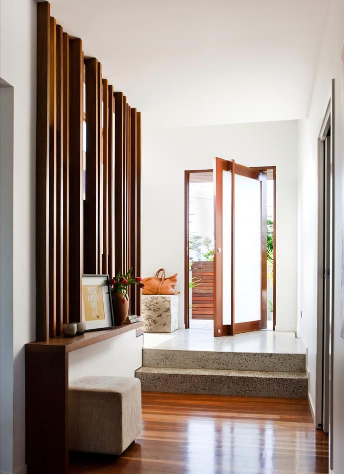 Contemporary entrance to a weatherboard home. | Photo: Maree Homer | Story: Australian House & Garden