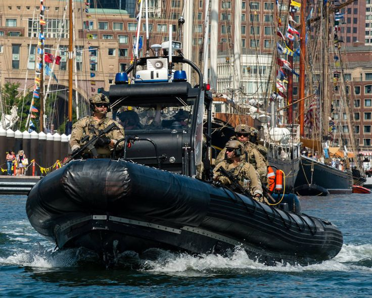 A U.S. Coast Guard Maritime Security Response Team patrols Boston Harbor. The team deployed from Chesapeake, Virginia, to provide waterside security for the public and tall ships during Sail Boston 2017.