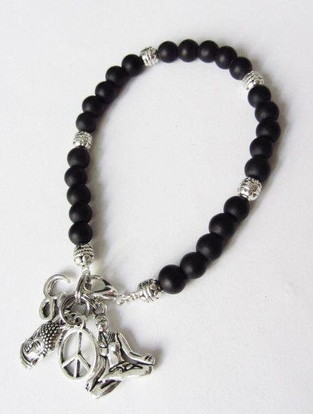 Buddha-Armband mit OM Yoga Anhänger schwarz-silber von soschoen auf DaWanda.com