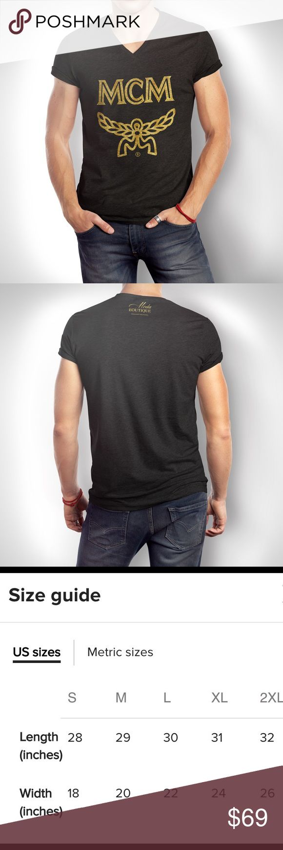 NWT MCM x Moda Boutique Gold Foil V-Neck Tee New with tags Custom printed (DTG) and made to order MCM x Moda Boutique  Men's - Gold Foil Fitted V-Neck  BLACK We use only the highest quality ring spun cotton tshirt that is stretchy, durable, light weight, and SOFT.   Like us on Facebook! @modabyboutique or 'Moda Boutique SF' Link in bio ☺️ MCM Shirts Tees - Short Sleeve