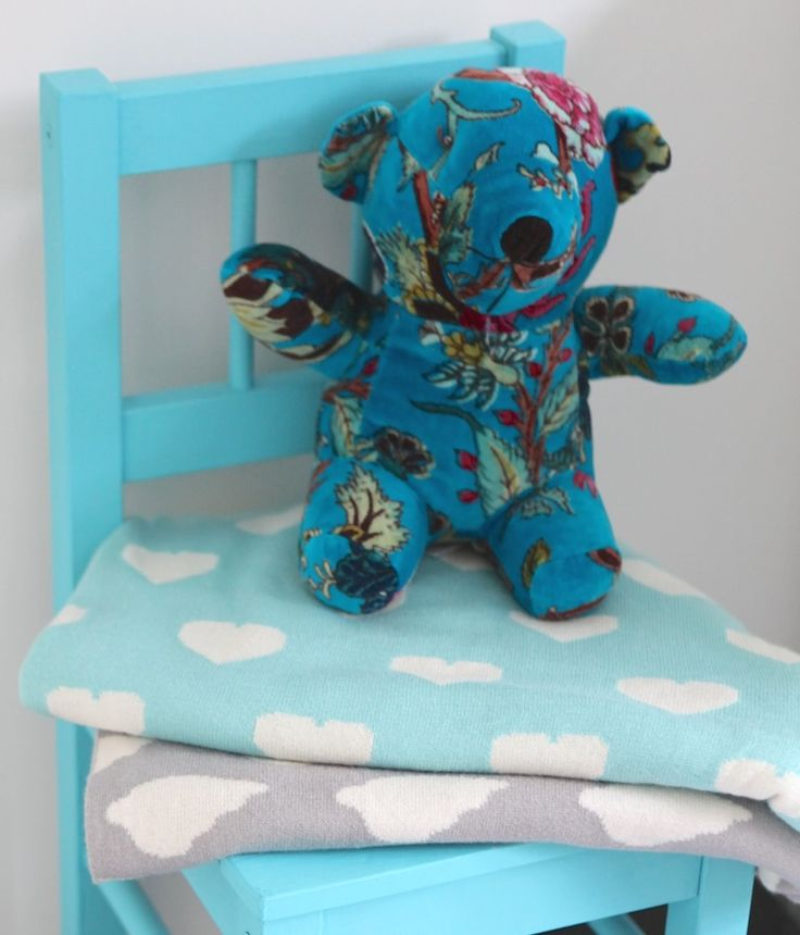 Sweet babies blankets with clouds and heart, and Mr velvet teddy.  www.rosaliving.co.nz www.rosaliving.com.au