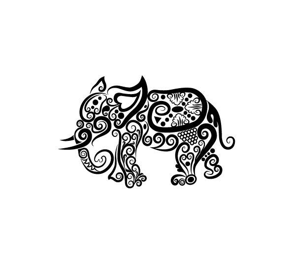 Unique Black Tribal Elephant Tattoo Design