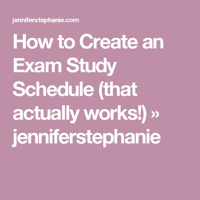 how to make an exam study schedule
