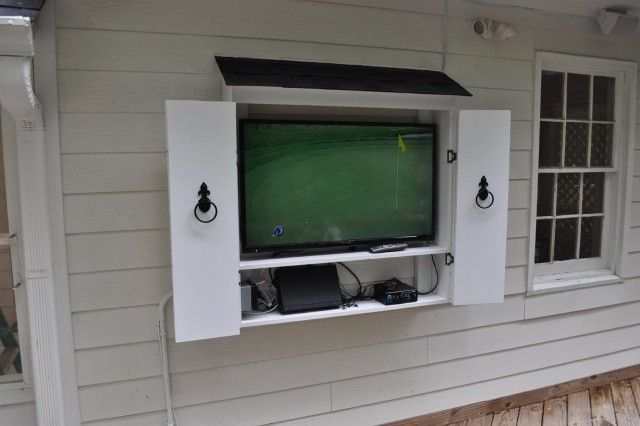 9 best images about outdoor tv ideas on pinterest tv for Wall mounted tv enclosure
