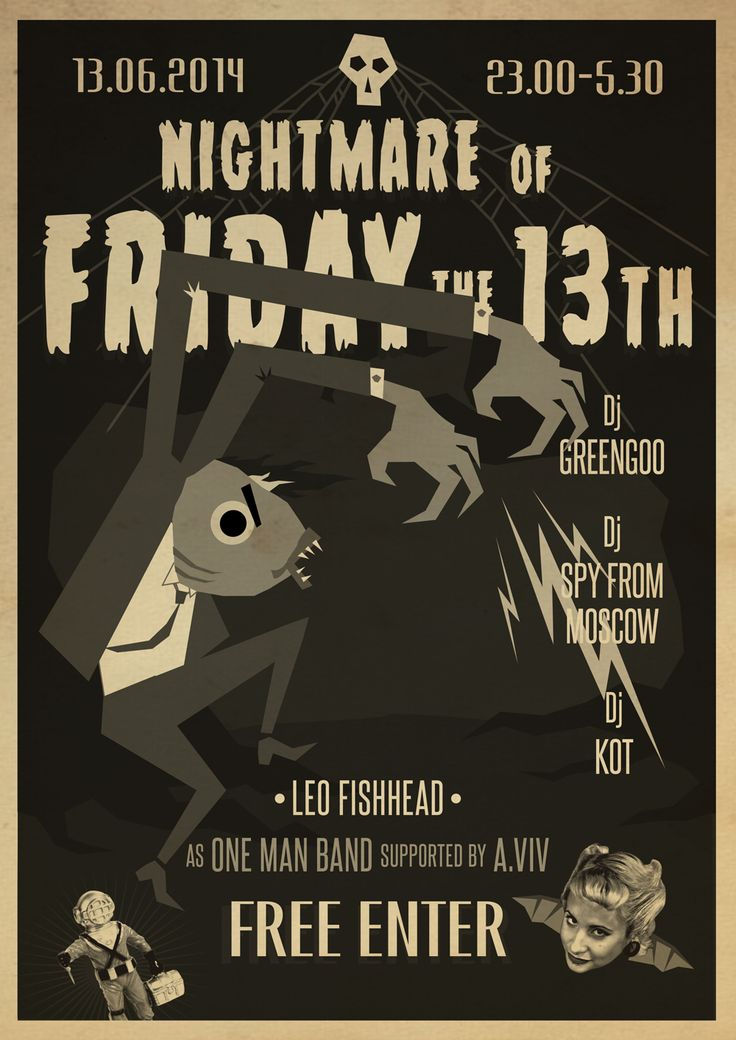 Leo Fishhead Оne Man Band Gig Poster Blues Trash Garage Psychobilly  Nightmare Of Friday The 13th. Alina Vivita Noire Plakat