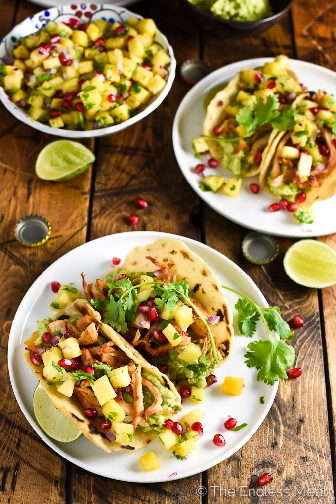 Bookmark this recipe for when you have leftover roasted (or rotisserie) chicken.Homemade pineapple salsa gives a fresh kick of flavor to these chicken tacos.