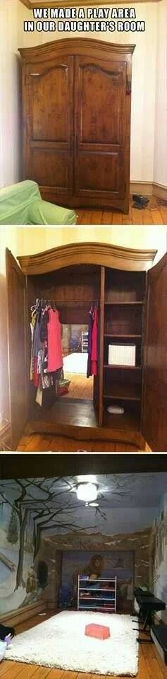 Narnia theme...although how cool of a hiding spot would this be!? (or if you did it in the parent's bedroom...a spot to go for some privacy!)