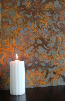 Donatella Damask wall stencil in a rust patina finish…