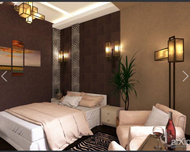 """Дизайн интерьера, зd визуализация - Проект """"Hotel room in African style, гостиничный номер в африканском стиле."""""""
