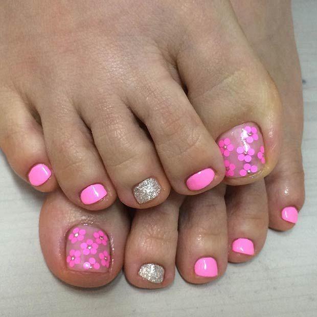 Pink Flower Toe Nail Design for Summer