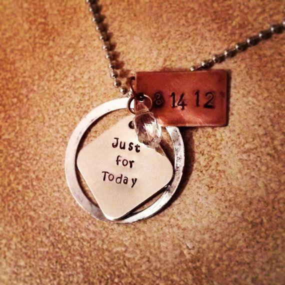 NA Narcotics Anonymous Sobriety Anniversary Necklace by KLBaby, $15.00