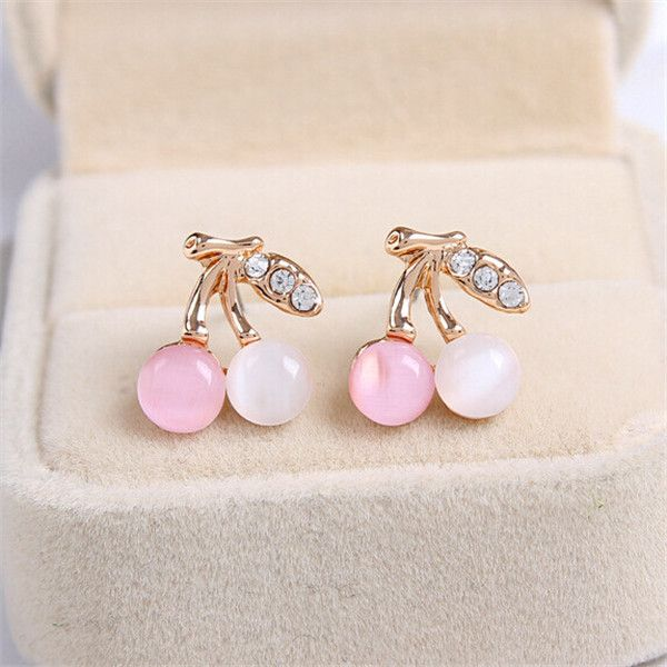 Korean Fashion Jewelry Simple Sweet Opal Cherry Earrings Delicate Rhinestone Cherry Earring Free Shipping