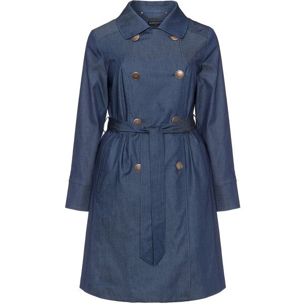Manon Baptiste Dark-Blue Plus Size Denim trench coat ($230) ❤ liked on Polyvore featuring outerwear, coats, plus size, waist belt, knee length trench coat, lightweight trench coat, fur-lined coats and plus size double breasted coat