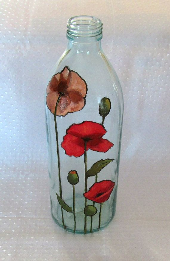 Hand Painted Bottle: Poppies, Hand Painted,  OOAK, Original Freehand Art, Floral Art, Clear Bottle