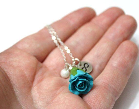Bocciolo di rosa Infinity collana turchese di NikushJewelryArt