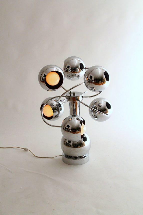 1 HUGE 6 CHROME EYEBALL orb atomic googies retro table lamp mid century 1970 era