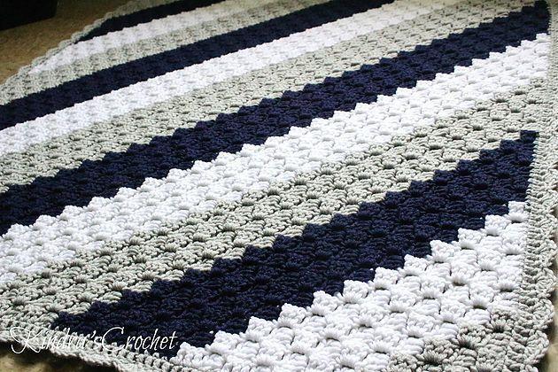 Kindra's Crochet Corner-to-Corner C2C Navy, Gray (Grey Mist) and White baby blanket with scalloped edge Pattern Tutorial