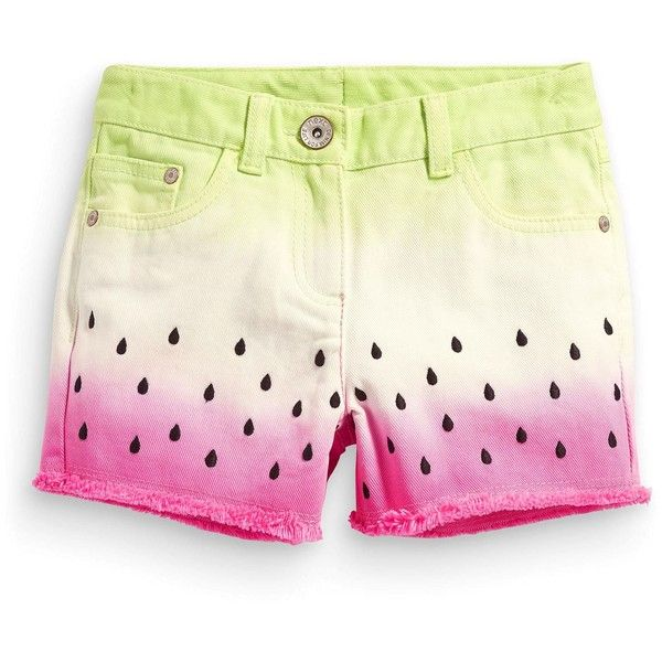 Watermelon Dip Dye Shorts (3-16yrs) (130 VEF) ❤ liked on Polyvore featuring shorts, bottoms, dip dye shorts and dip dyed shorts
