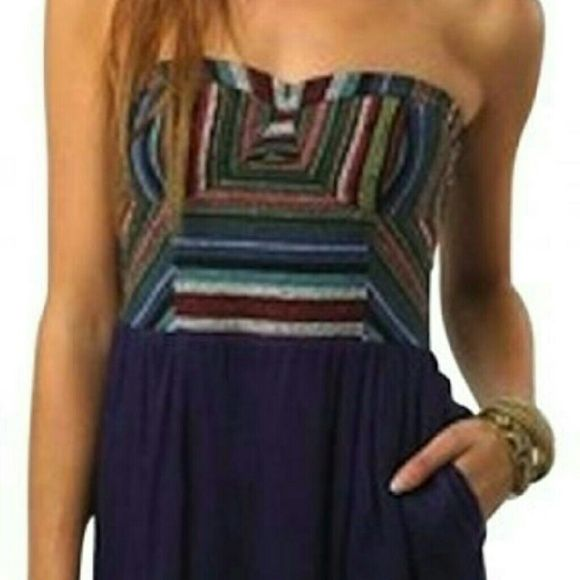 Urban Outfitters Staring at Stars Dress Navajo print  embroidered strapless dress with navy skirt. Gently worn. Urban Outfitters Dresses Mini