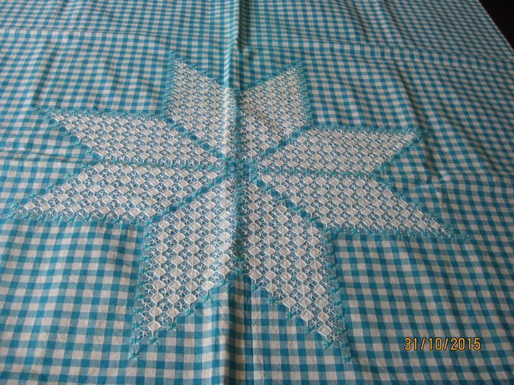 Vintage Aqua AND White Checked Tablecloth With Embroidery in QLD | eBay