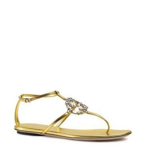 Gucci Oro Gold GG Sparkle Leather Flat Sandals - Sale