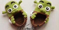 buciki Shrek amigurumi crochet sweet funny booties Disney crochet buciki dla niemowlaka, prezent dla dziecka, newborn baby booties darmowy wzór, free pattern