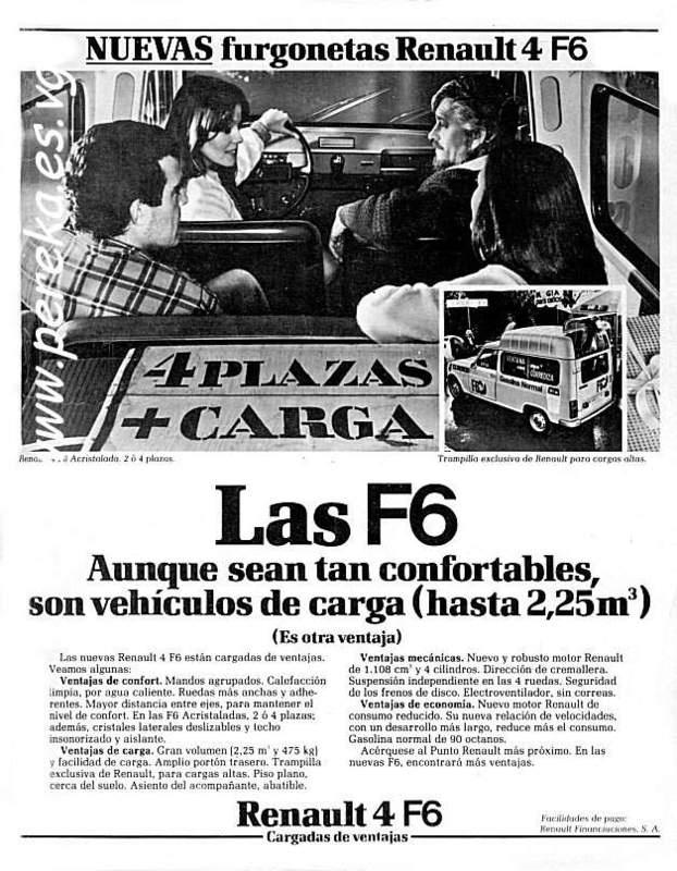 """Renault 4 F6 """" vehiculos de carga""""  Cambio e-shop por Renault 4 en regla"""
