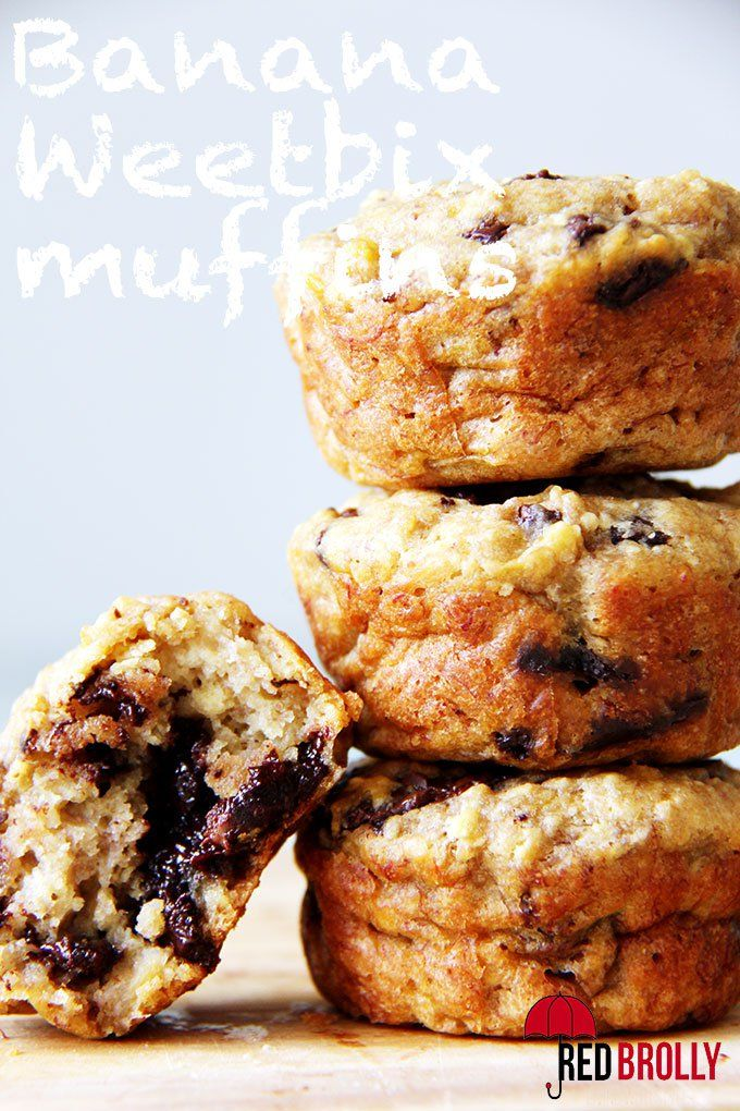 Banana choc chip weet-bix muffins - Red Brolly