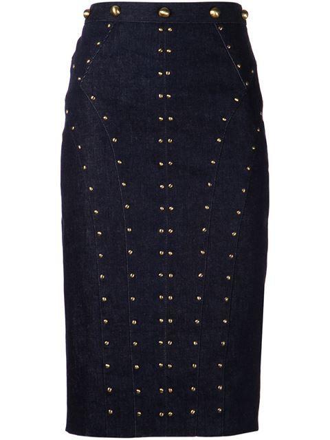 Tamara Mellon Studded Denim Skirt - Tootsies - Farfetch.com