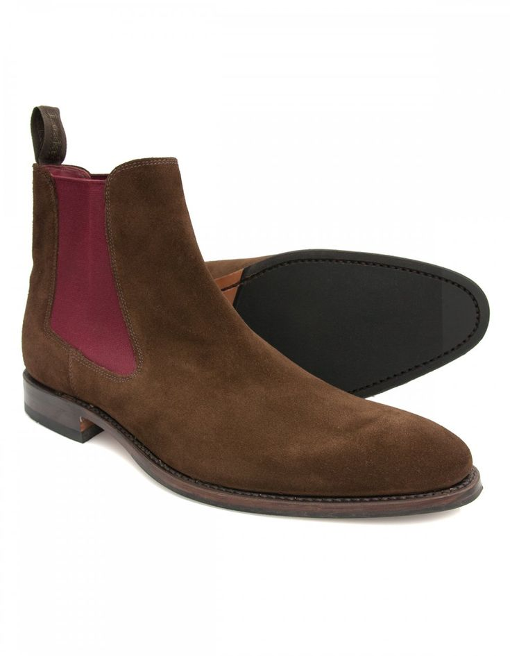 Loake Hutchinson Brown Suede Chelsea Boot with Burgundy Elastic