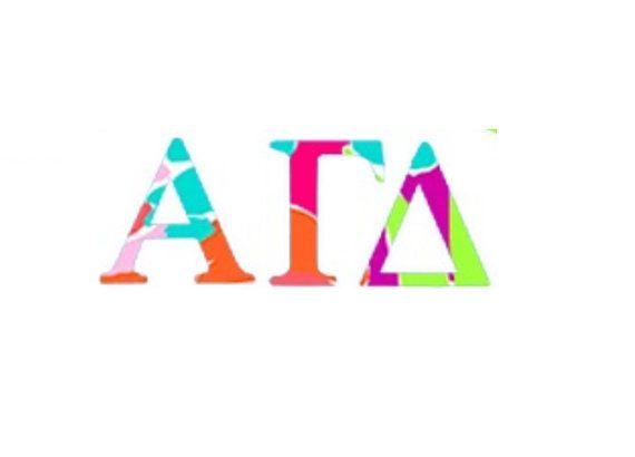 alpha gamma delta lilly pulitzer inspired sorority decalsticker letters