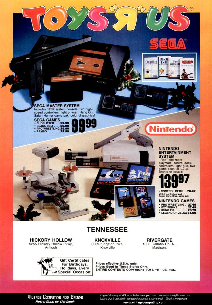 """Toys'R'Us Nintendo Entertainment System and Sega Master System Ad - December 1987 Send us a message if you want to pin on our """"Favorite Old Video Games"""" board and wel'l add you!"""