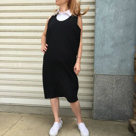 Black Maxi Tank Top / Loose Black Kaftan Dress / Casual Oversize Dress / Black Tunic Dress / EXPRESS SHIPPING