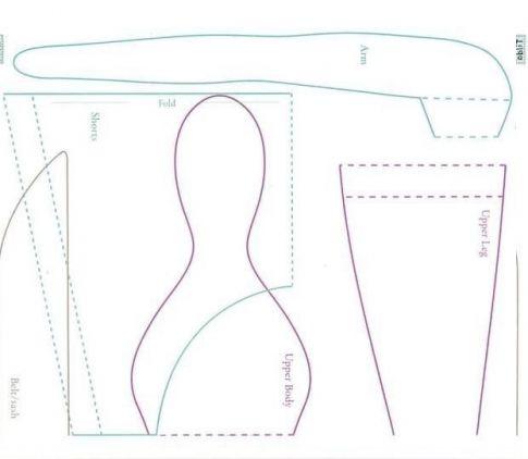 Любителям ретро-стиля рекомендуется сшить куклу, одетую в пляжный костюм 50-х годов прошлого века, с прекрасными яркими аксессуарами. Подготовьте ткань телесного цвета, клочки яркой ткани в горошек контрастного цвета и предметы для декорирования — броши, наклейки, пуговицы и бусы. Тело предыдущей куклы состояло из двух частей. Здесь принцип работы немного иначе. Кукла стоит из четырех частей: …