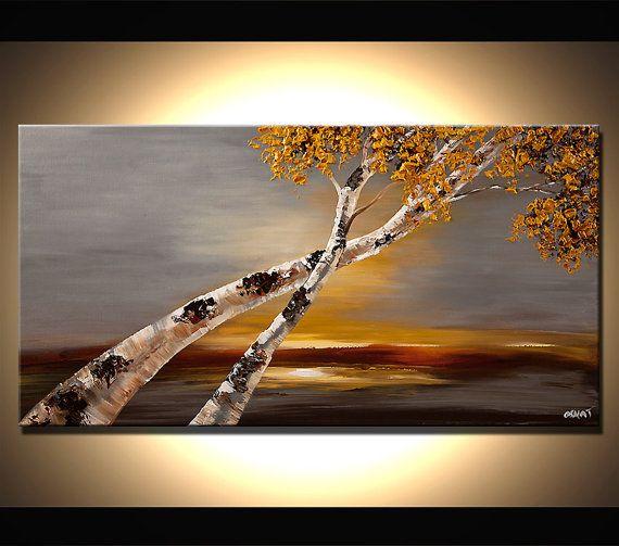 Bouleau arbre paysage peinture - cette magnifique peinture est une peinture sur commande. Je vais créer il est semblable à celui que vous voyez ici, que jai déjà vendu. Il va me prendre 5 jours ouvrables pour le créer. La peinture va être texturée. Je vais utiliser un couteau pour le