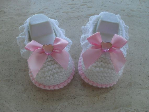 Hand Knitted Baby Girl Shoes/Booties  Size от MarilynsCreation, €6.00