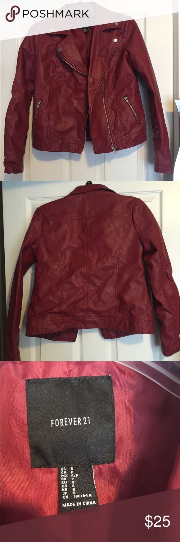 Forever 21 Faux Red Leather Jacket Super cute and still in great condition! Forever 21 Jackets & Coats