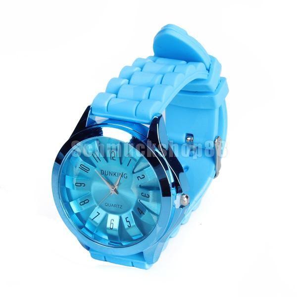 * Blau Quarz Armbanduhr Uhr Watch Unisex Kieselerde Gel
