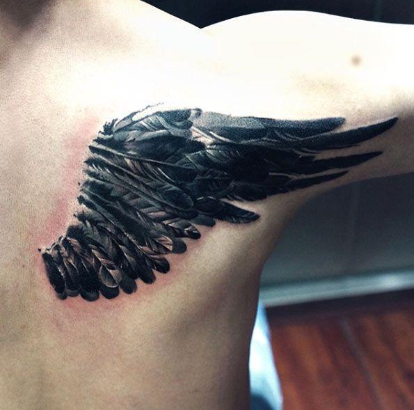 Blackwork Wing Tattoo by Wang Lei
