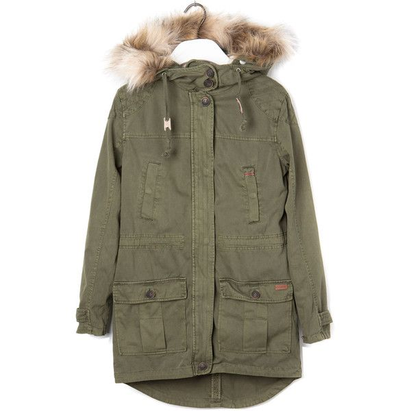 Pull & Bear Hooded Parka With Detachable Lining ($120) ❤ liked on Polyvore