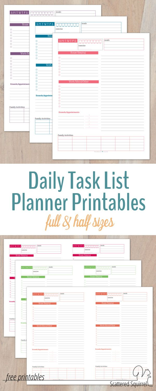 Don't let your to-do list leave you feeling overwhelmed. These daily task list planner printables are a great way to keep on track without over scheduling yourself.